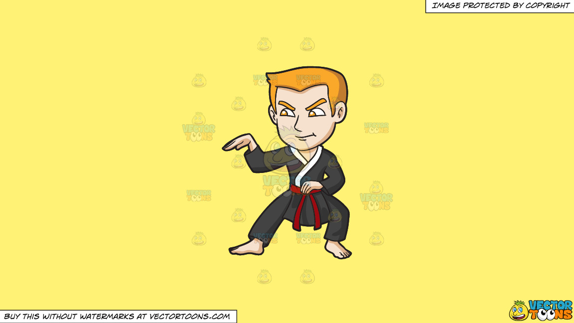 A Man Doing A Snake Style Martial Arts Stance On A Solid Sunny Yellow Fff275 Background thumbnail
