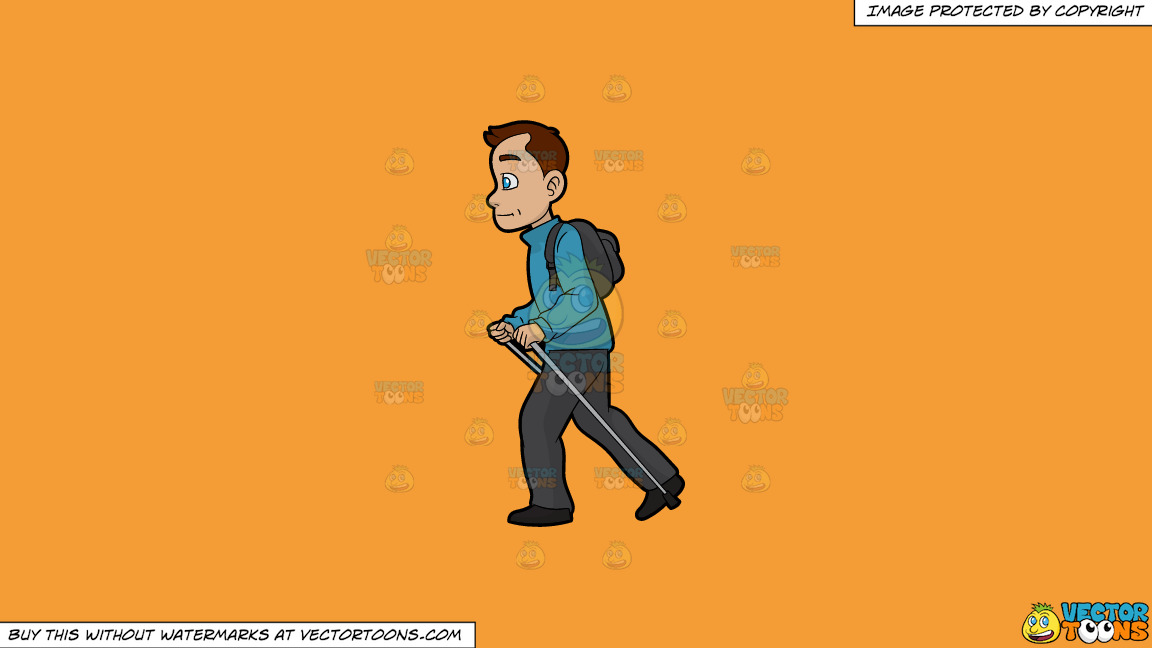 A Man Doing A Solo Nordic Walk On A Solid Deep Saffron Gold F49d37 Background thumbnail