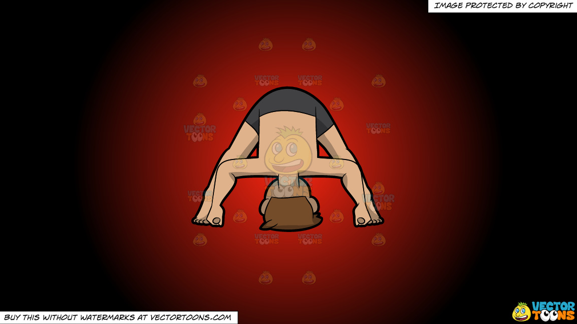 A Man Doing A Variant Of The Wide Legged Forward Bend Yoga Pose On A Red And Black Gradient Background thumbnail