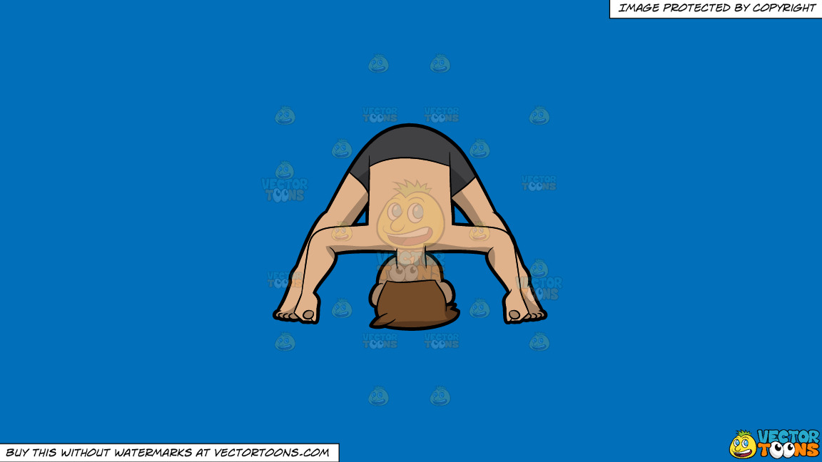 A Man Doing A Variant Of The Wide Legged Forward Bend Yoga Pose On A Solid Spanish Blue 016fb9 Background thumbnail