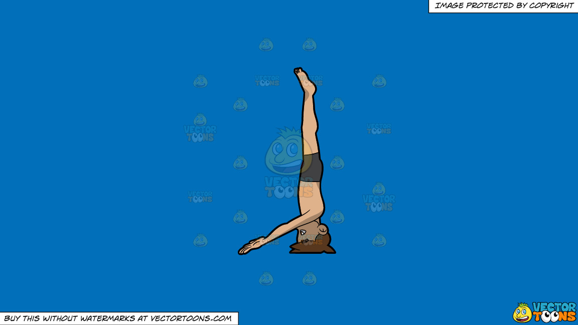 A Man Doing A Variation Of The Hands Free Headstand Yoga Pose On A Solid Spanish Blue 016fb9 Background thumbnail