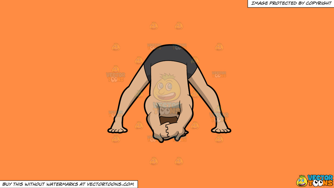 A Man Doing A Variation Of The Wide Legged Forward Bend Yoga Pose On A Solid Mango Orange Ff8c42 Background thumbnail