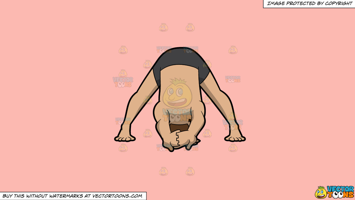 A Man Doing A Variation Of The Wide Legged Forward Bend Yoga Pose On A Solid Melon Fcb9b2 Background thumbnail