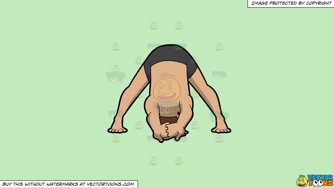 A Man Doing A Variation Of The Wide Legged Forward Bend Yoga Pose On A Solid Tea Green C2eabd Background thumbnail