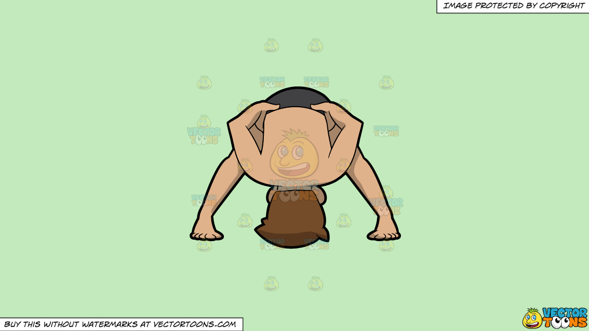 A Man Doing Another Variant Of A Wide Legged Forward Bend Yoga Pose On A Solid Tea Green C2eabd Background thumbnail