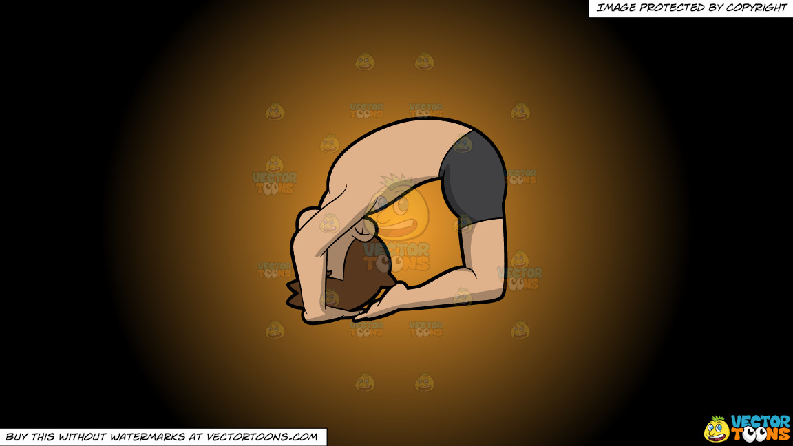 A Man Doing Another Variant Of The Ashtanga Pigeon Yoga Pose On A Orange And Black Gradient Background thumbnail