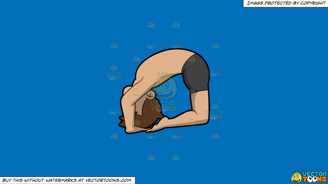 A Man Doing Another Variant Of The Ashtanga Pigeon Yoga Pose On A Solid Spanish Blue 016fb9 Background thumbnail