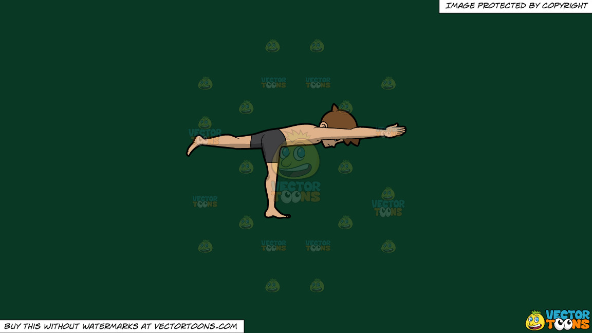 A Man Doing The Airplane Yoga Pose On A Solid Dark Green 093824 Background thumbnail