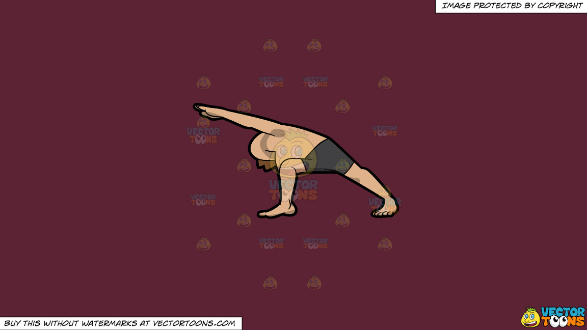 A Man Doing The Extended Side Angle Yoga Pose On A Solid Red Wine 5b2333 Background thumbnail