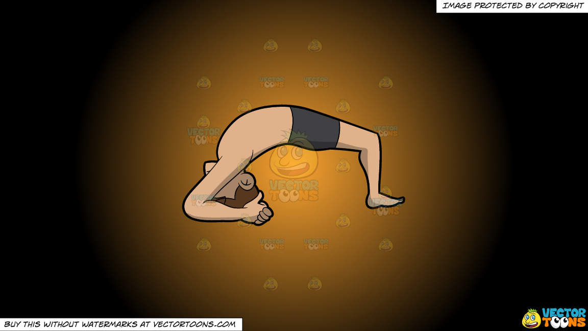 A Man Doing The Two Leg Inverted Staff Yoga Pose On A Orange And Black Gradient Background thumbnail