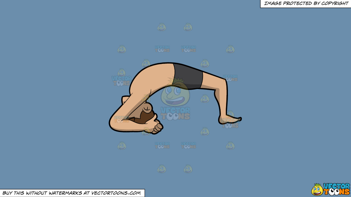 A Man Doing The Two Leg Inverted Staff Yoga Pose On A Solid Shadow Blue 6c8ead Background thumbnail