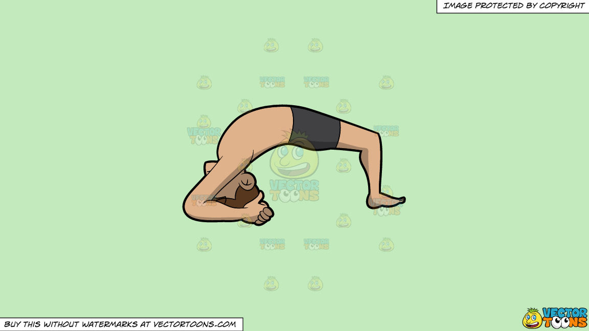 A Man Doing The Two Leg Inverted Staff Yoga Pose On A Solid Tea Green C2eabd Background thumbnail