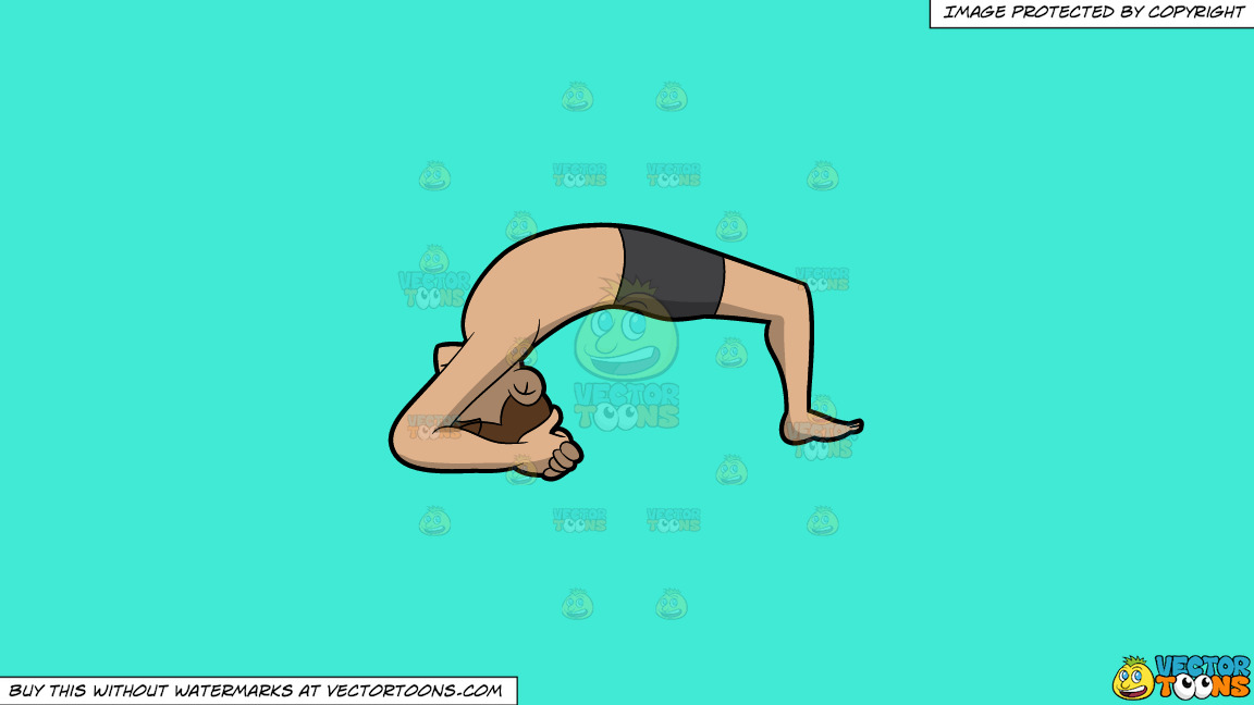 A Man Doing The Two Leg Inverted Staff Yoga Pose On A Solid Turquiose 41ead4 Background thumbnail