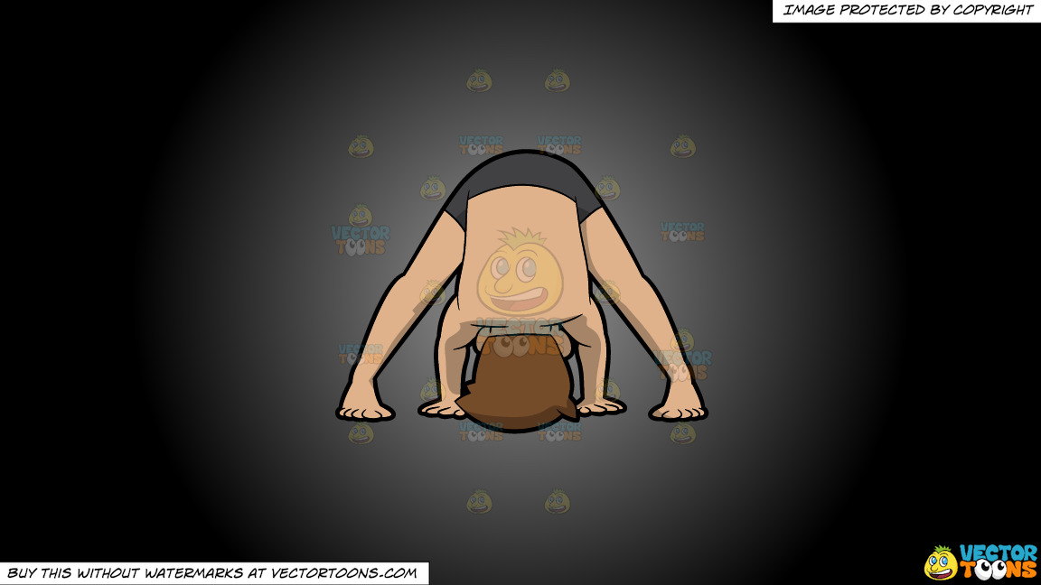 A Man Doing The Wide Legged Forward Bend Yoga Pose On A Grey And Black Gradient Background thumbnail