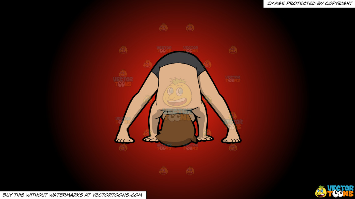 A Man Doing The Wide Legged Forward Bend Yoga Pose On A Red And Black Gradient Background thumbnail
