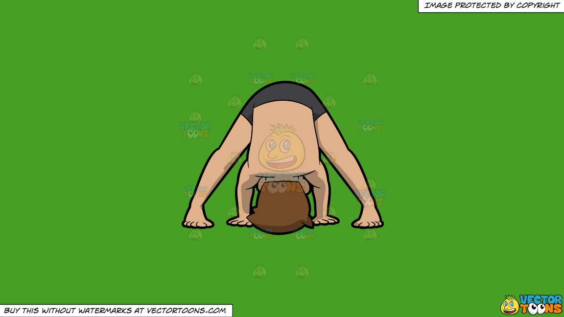 A Man Doing The Wide Legged Forward Bend Yoga Pose On A Solid Kelly Green 47a025 Background thumbnail