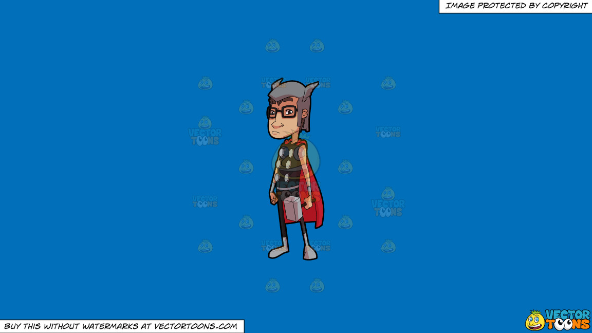A Man Dressed Like A Super Hero On A Solid Spanish Blue 016fb9 Background thumbnail