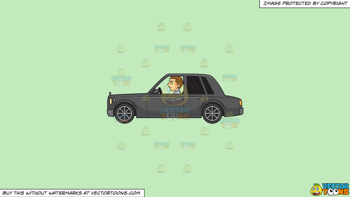 A Man Driving A Luxury Car On A Solid Tea Green C2eabd Background thumbnail