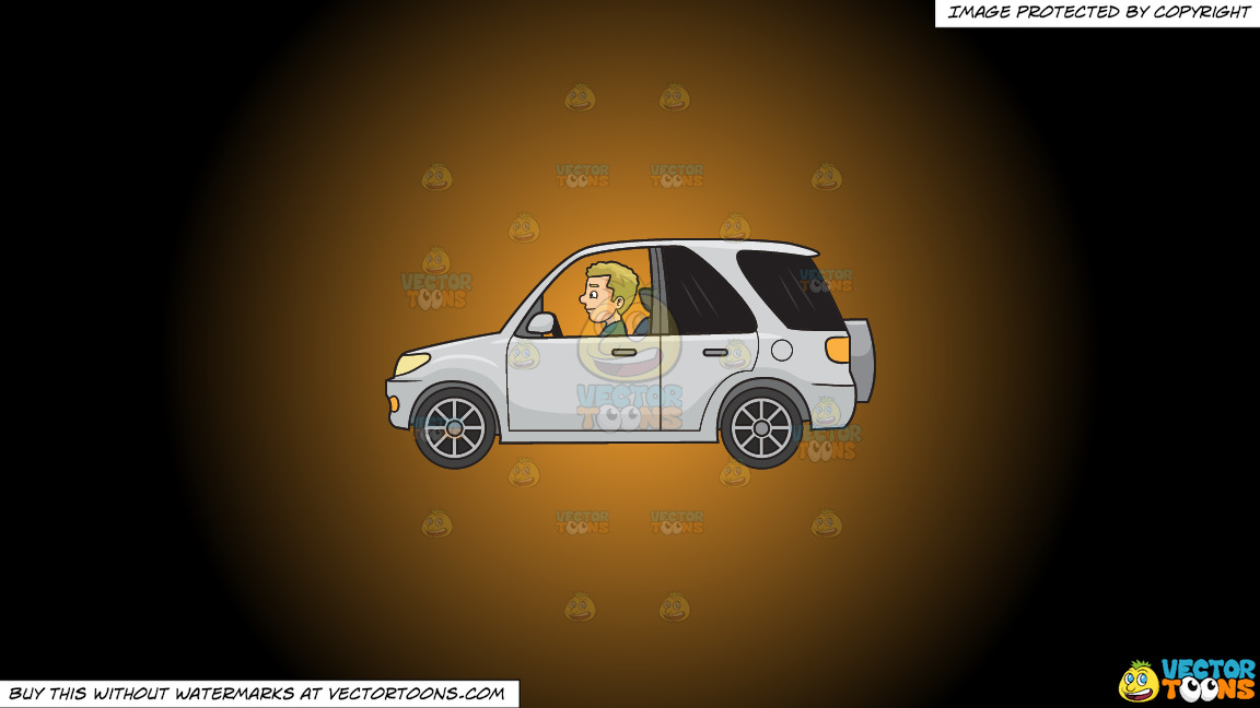 A Man Driving A Mini Suv On A Orange And Black Gradient Background thumbnail