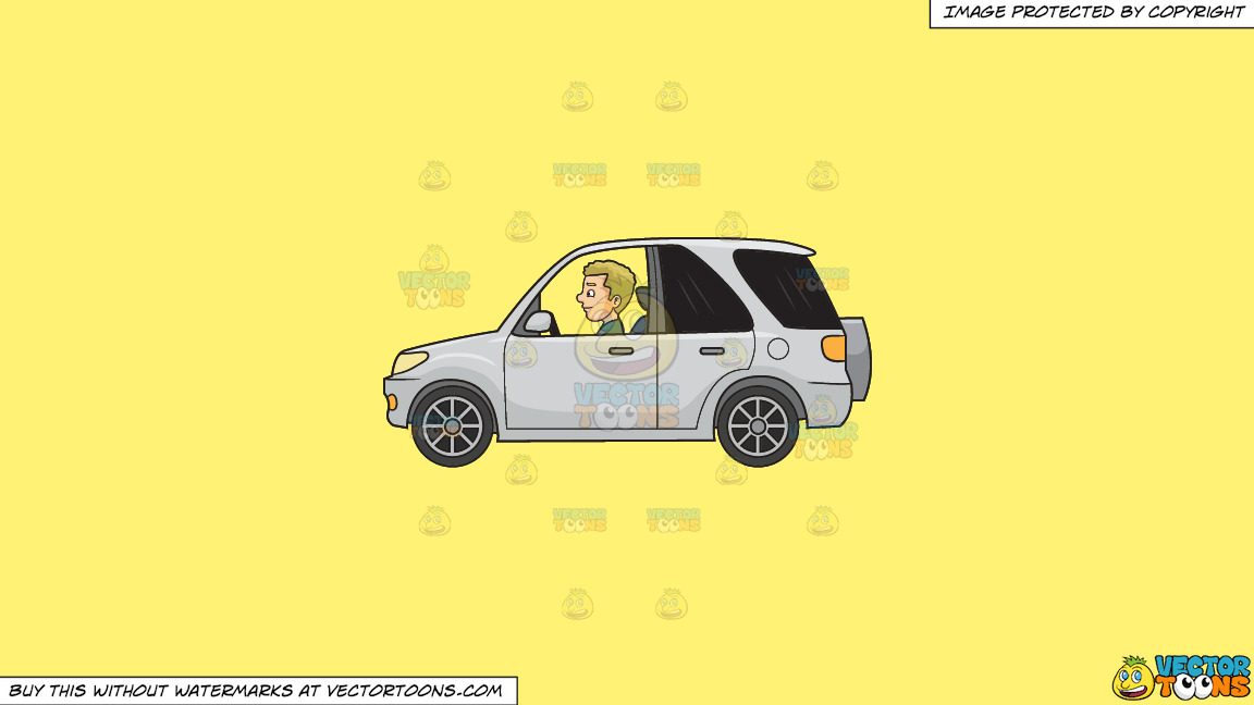A Man Driving A Mini Suv On A Solid Sunny Yellow Fff275 Background thumbnail