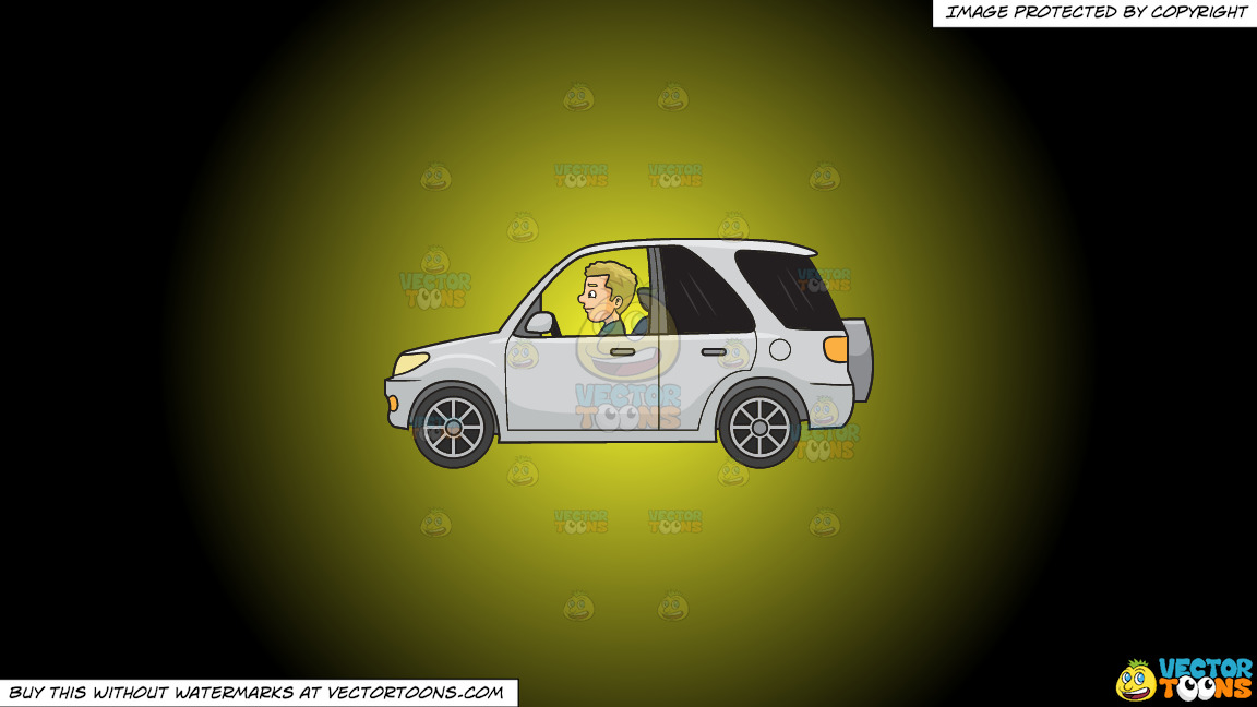 A Man Driving A Mini Suv On A Yellow And Black Gradient Background thumbnail