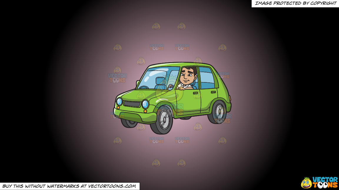 A Man Driving A Small Lime Green Car On A Pink And Black Gradient Background thumbnail