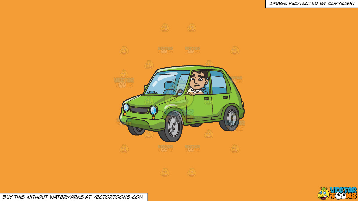 A Man Driving A Small Lime Green Car On A Solid Deep Saffron Gold F49d37 Background thumbnail