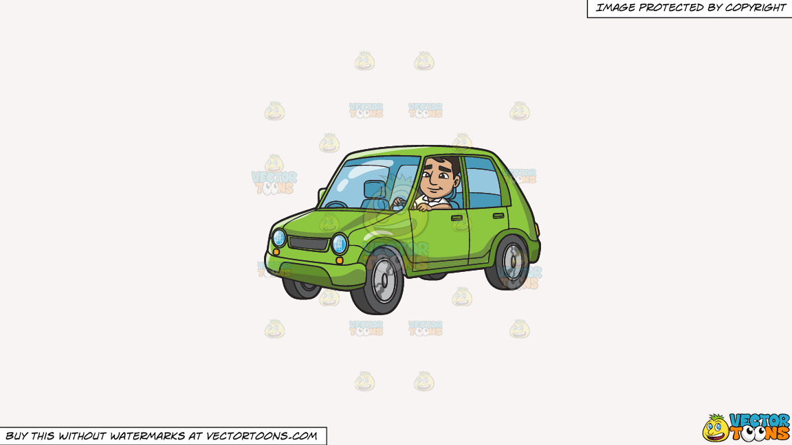 A Man Driving A Small Lime Green Car On A Solid White Smoke F7f4f3 Background thumbnail