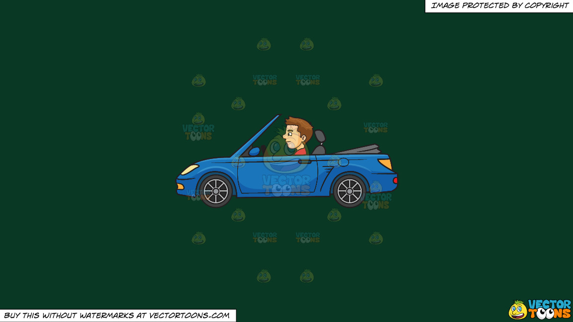 A Man Driving A Sports Convertible Car On A Solid Dark Green 093824 Background thumbnail
