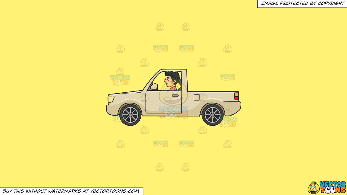 A Man Driving A Truck On A Solid Sunny Yellow Fff275 Background thumbnail
