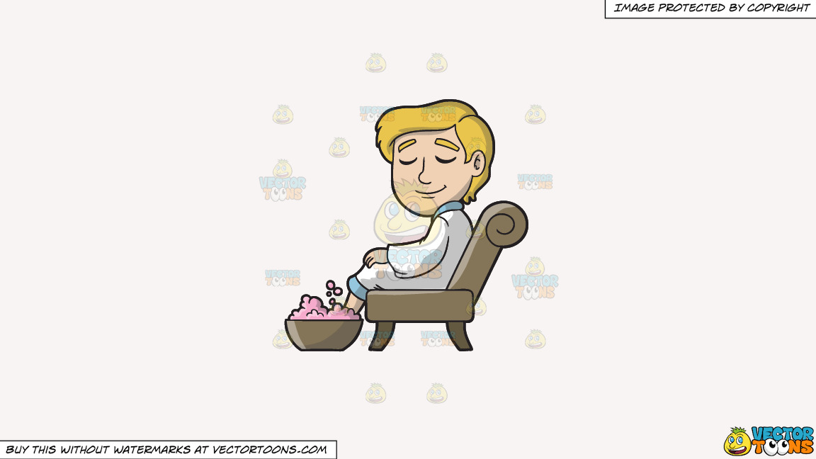A Man Enjoying A Foot Spa On A Solid White Smoke F7f4f3 Background thumbnail