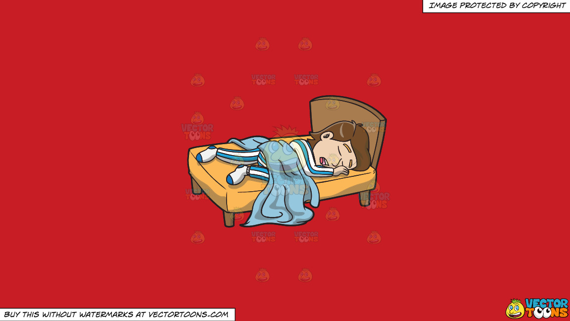A Man Enjoying A Good Nights Sleep In His Comfy Bed On A Solid Fire Engine Red C81d25 Background thumbnail