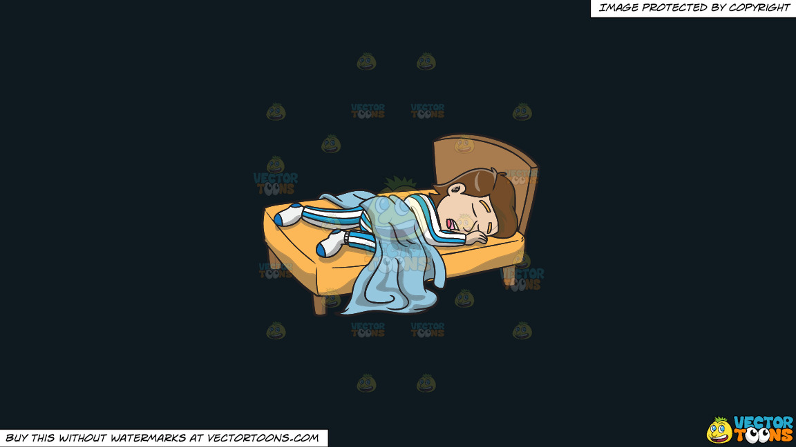 A Man Enjoying A Good Nights Sleep In His Comfy Bed On A Solid Off Black 0f1a20 Background thumbnail