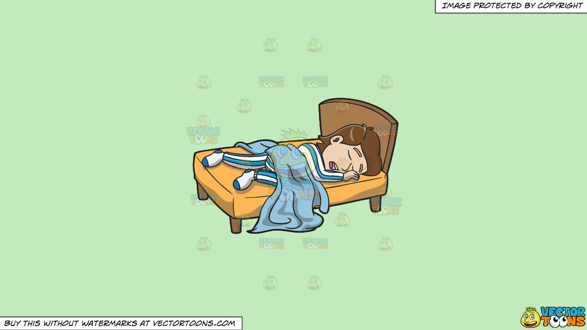 A Man Enjoying A Good Nights Sleep In His Comfy Bed On A Solid Tea Green C2eabd Background thumbnail