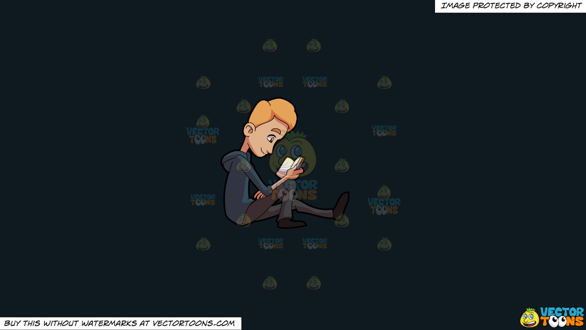 A Man Enjoying His Break While Reading A Book On A Solid Off Black 0f1a20 Background thumbnail