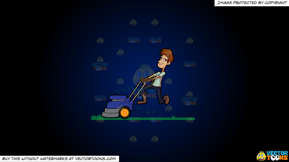 A Man Enjoying His Work To Cut The Grass With A Lawnmower On A Dark Blue And Black Gradient Background thumbnail