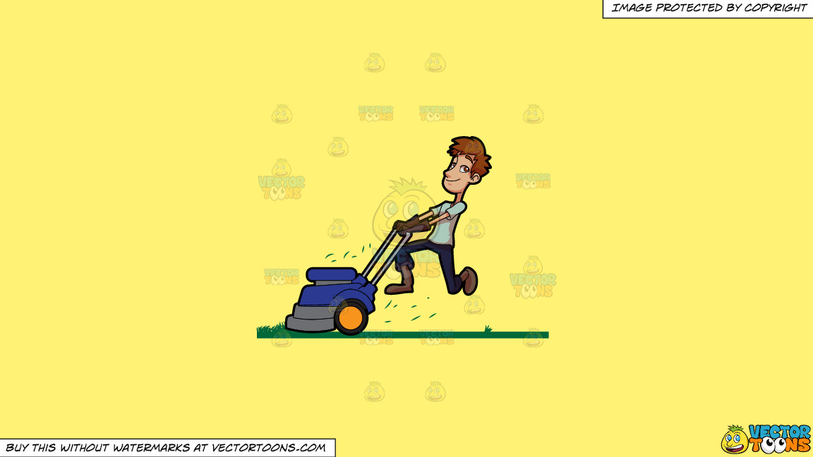 A Man Enjoying His Work To Cut The Grass With A Lawnmower On A Solid Sunny Yellow Fff275 Background thumbnail