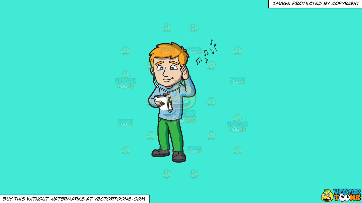 A Man Enjoying The Music Playing On His Ipad On A Solid Turquiose 41ead4 Background thumbnail