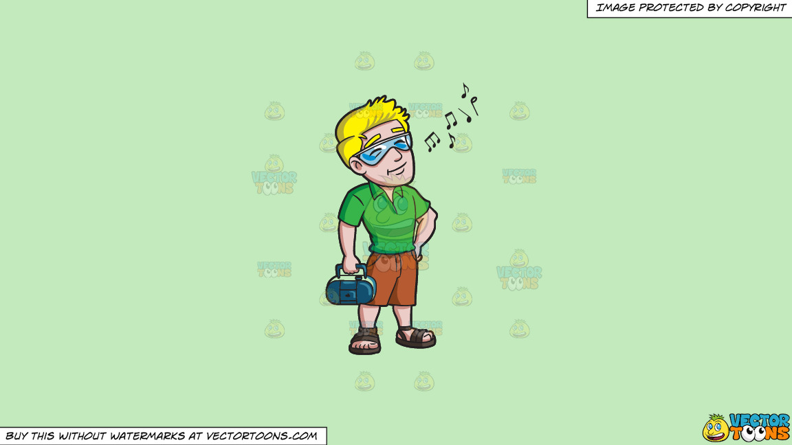 A Man Enjoying The Songs On The Radio On A Solid Tea Green C2eabd Background thumbnail