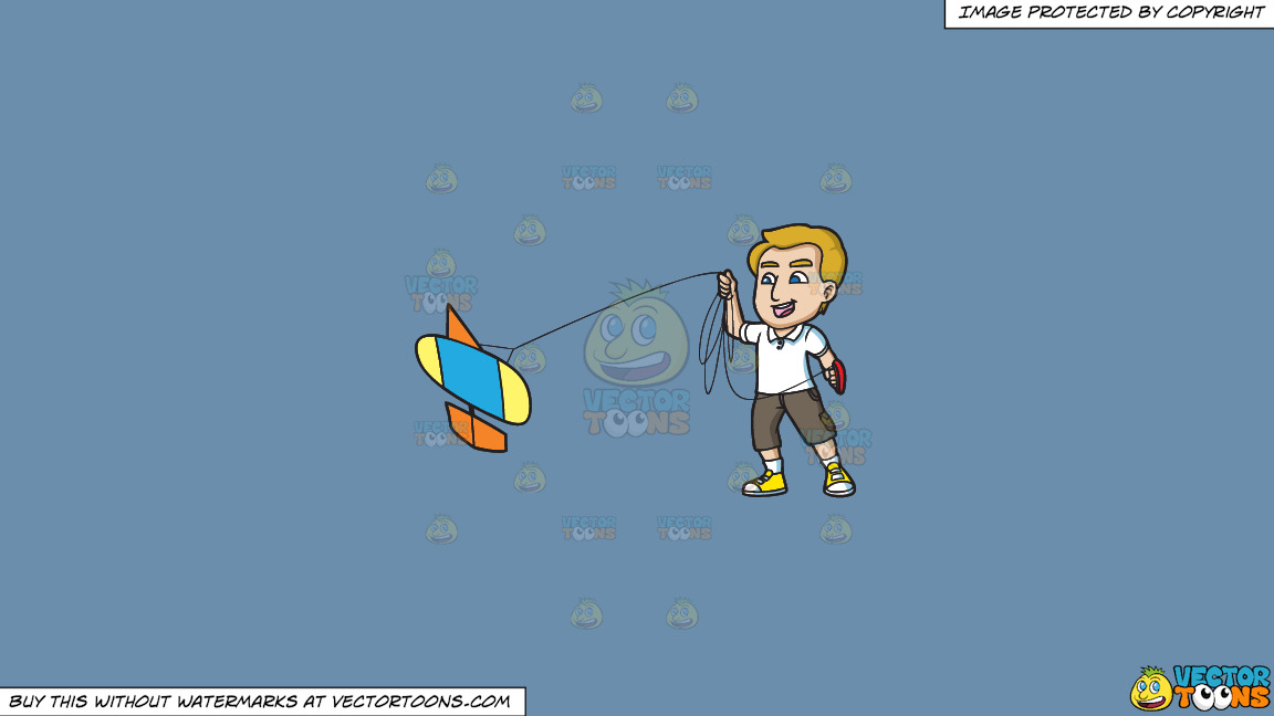 A Man Enjoys Flying His New Kite On A Solid Shadow Blue 6c8ead Background thumbnail