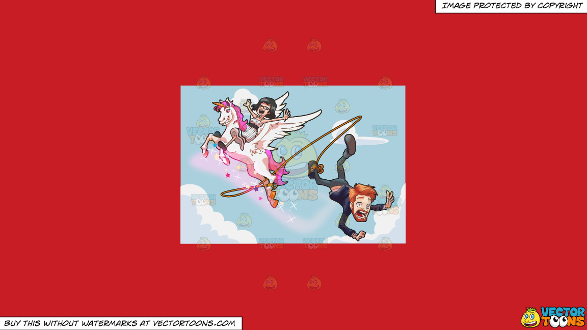 A Man Falling Off A Flying Unicorn On A Solid Fire Engine Red C81d25 Background thumbnail