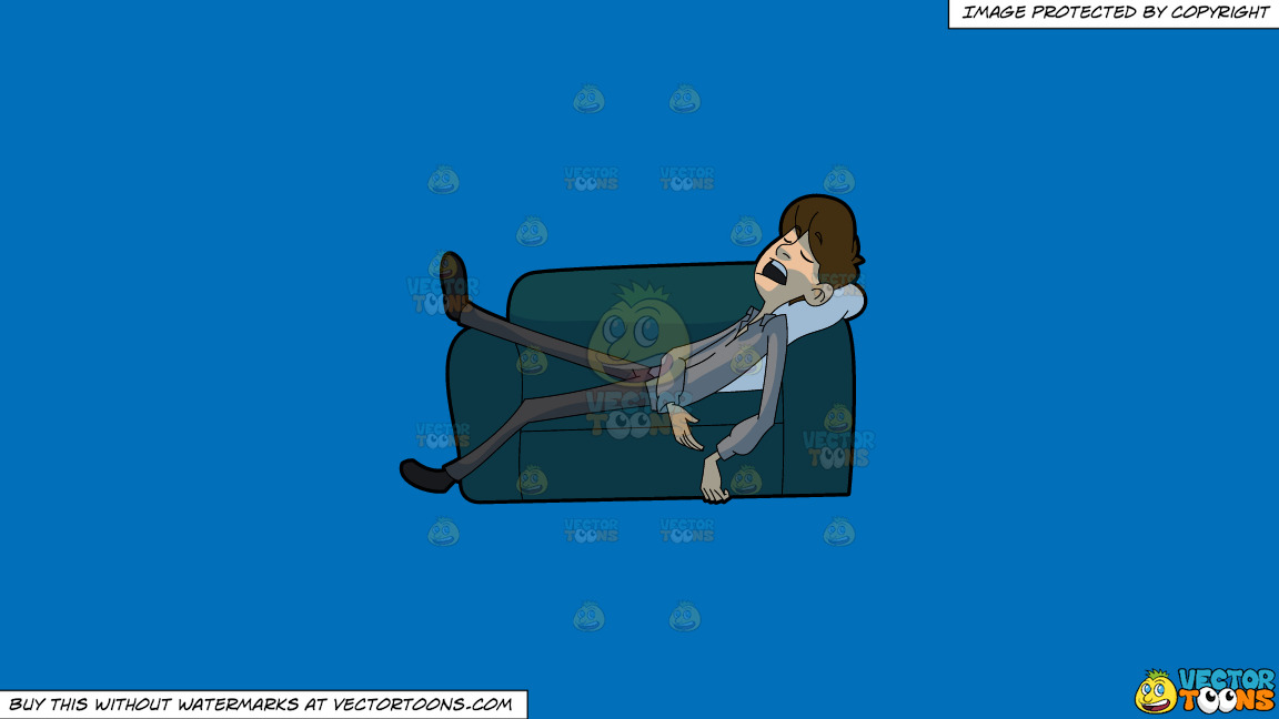A Man Falls Asleep On A Sofa After Work On A Solid Spanish Blue 016fb9 Background thumbnail