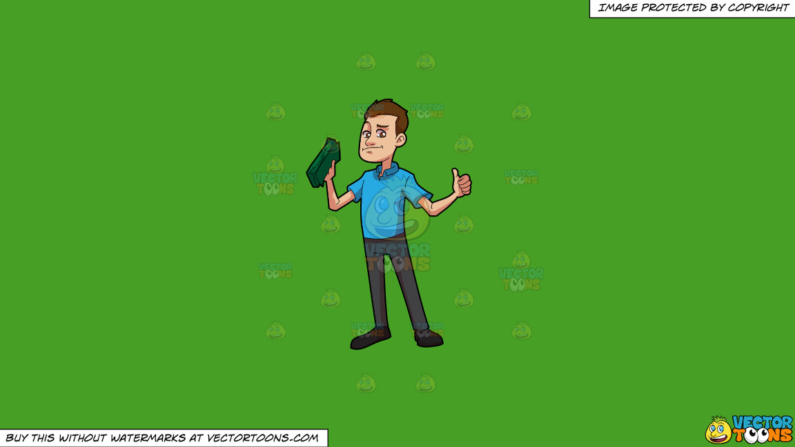 A Man Feeling Great With His Earnings On A Solid Kelly Green 47a025 Background thumbnail