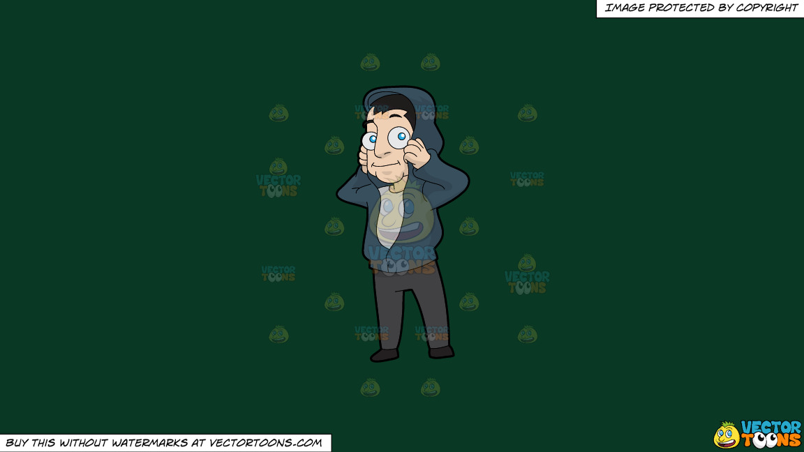 A Man Fixing His Hooded Jacket On A Solid Dark Green 093824 Background thumbnail