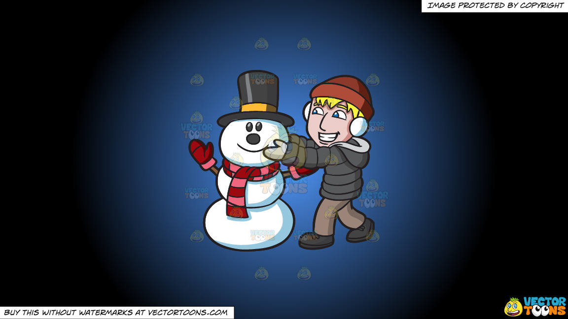 A Man Fixing The Head Of A Happy Snowman On A Blue And Black Gradient Background thumbnail