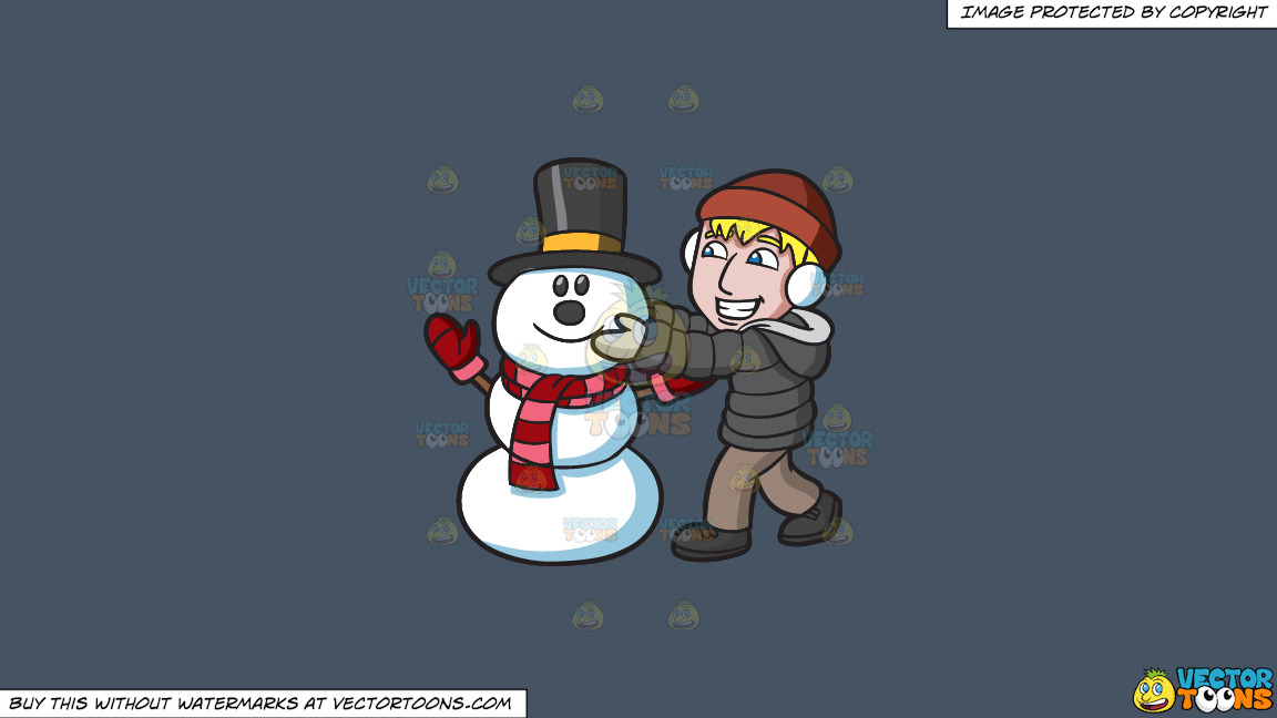 A Man Fixing The Head Of A Happy Snowman On A Solid Metal Grey 465362 Background thumbnail