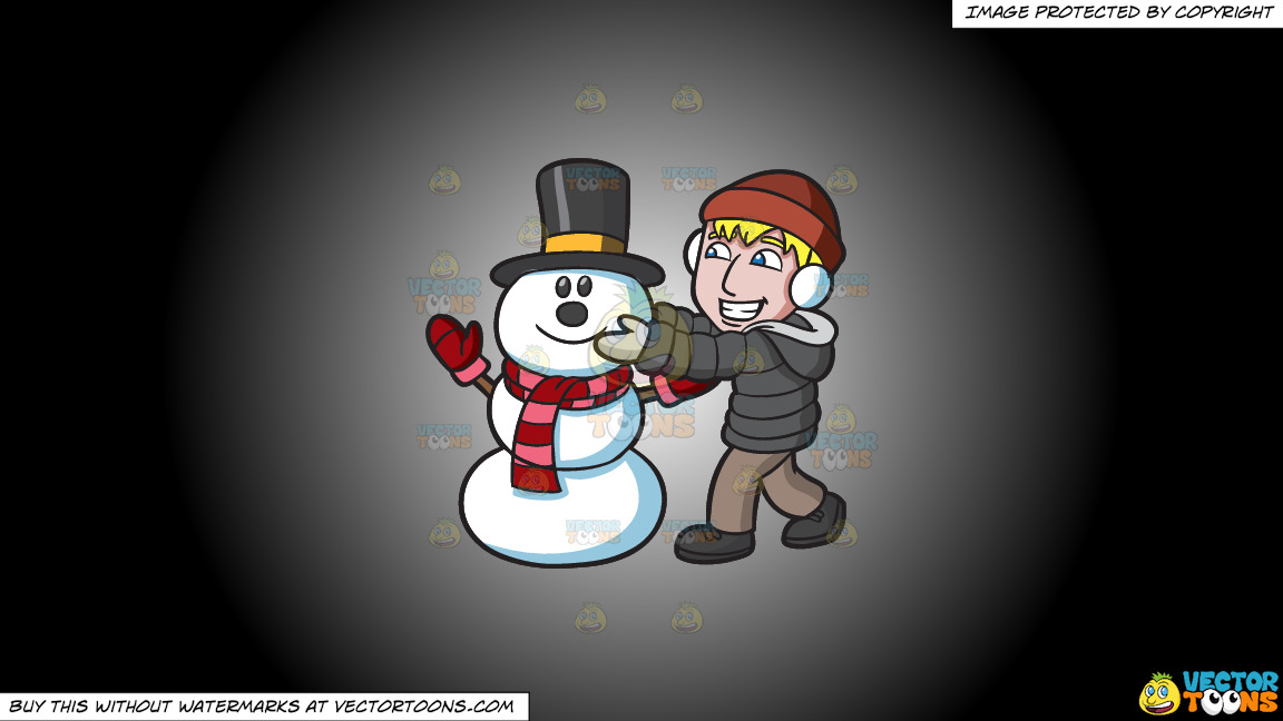 A Man Fixing The Head Of A Happy Snowman On A White And Black Gradient Background thumbnail