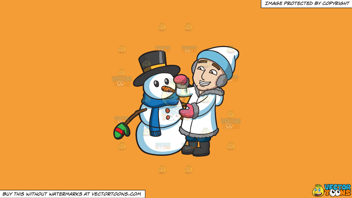 A Man Fixing The Snowman He Created On A Solid Deep Saffron Gold F49d37 Background thumbnail