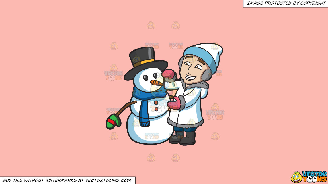 A Man Fixing The Snowman He Created On A Solid Melon Fcb9b2 Background thumbnail