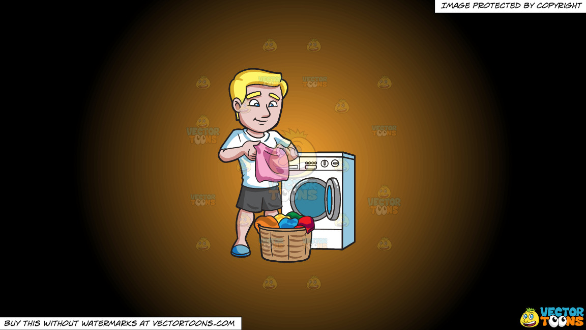 A Man Folding Clothes After Laundry On A Orange And Black Gradient Background thumbnail